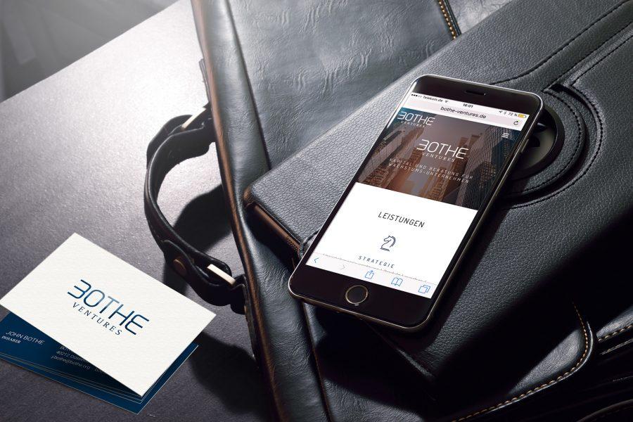 Bothe Ventures - Visitenkarten, Website Smartphone