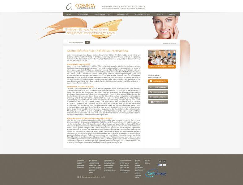 Cosmeda Akademie - Website Entwurf komplett