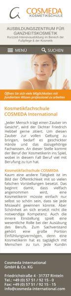 Cosmeda Akademie - Website Entwurf Smartphone