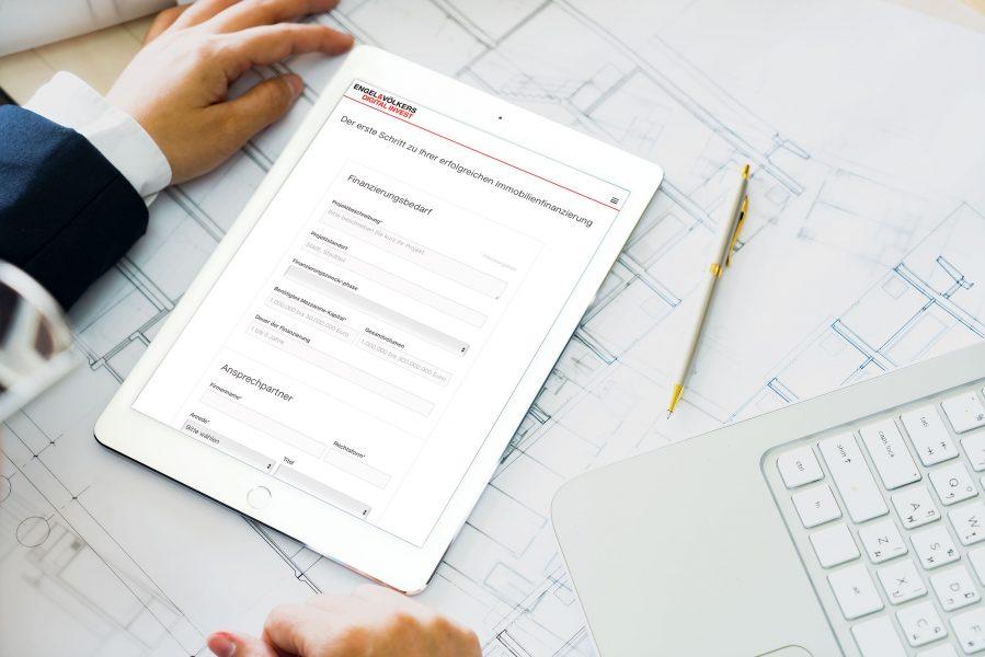 Engel & Völkers Digital Invest - Immobilienfinanzierung Tablet Ansicht