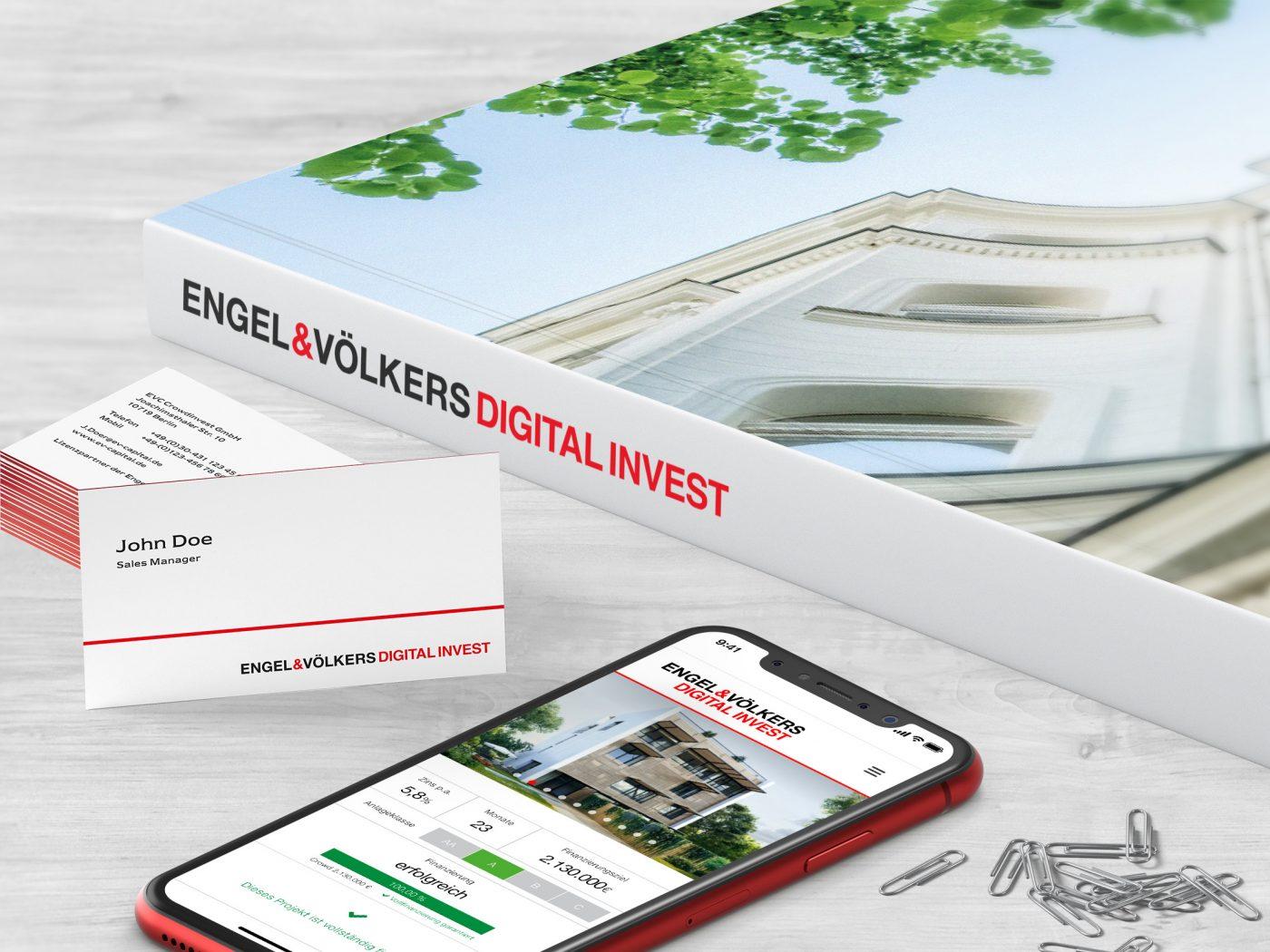Engel & Völkers Digital Invest - Imagebroschüre-Mobilansicht-Visitenkarten