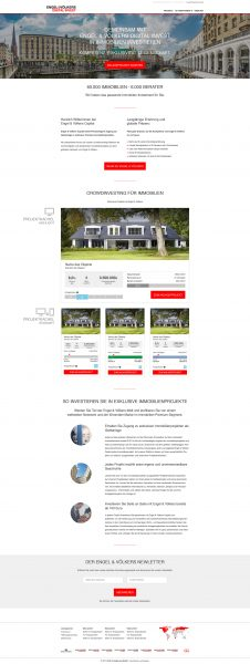 Engel & Völkers Digital Invest - Startseite, Projektkacheln, Text und Bildelemente