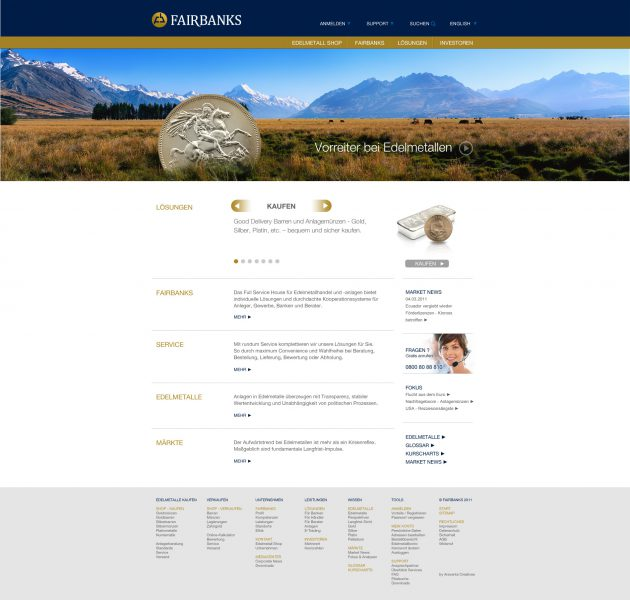 Fairbanks - Website Entwurf komplett