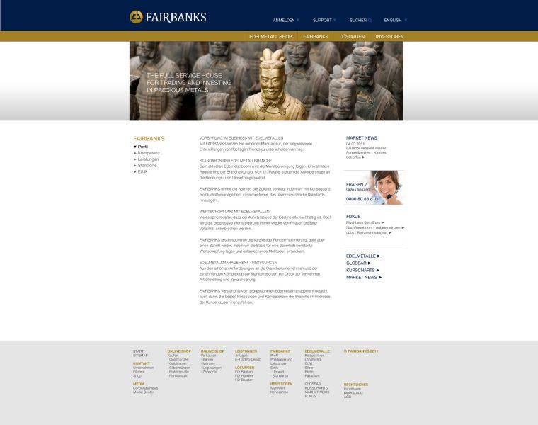 Fairbanks - Website Unterseite