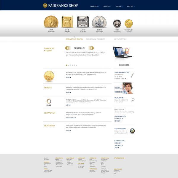 Fairbanks - Shop-Website Entwurf