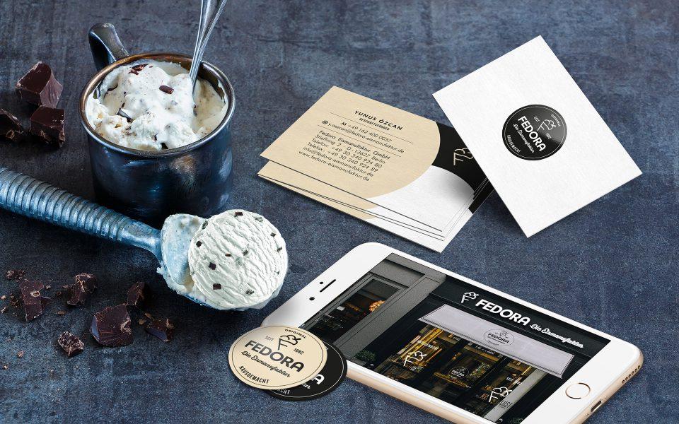 Fedora Eismanufaktur - Visitenkarten, Ladenansicht, Sticker
