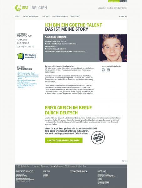 Goethe-TALENTs - Landingpage Profildetail