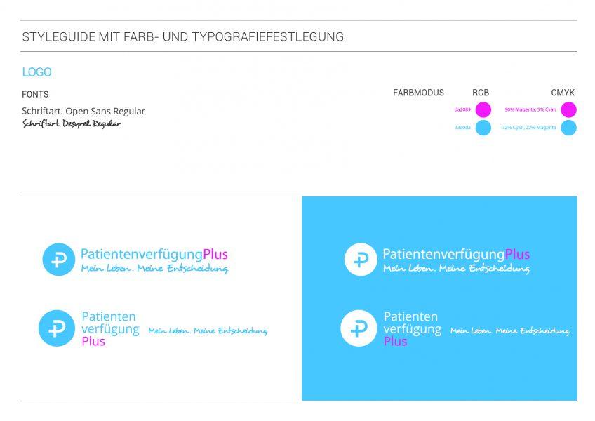 PatientenverfügungPlus - Styleguide mit Farb- und Typografiefestlegung