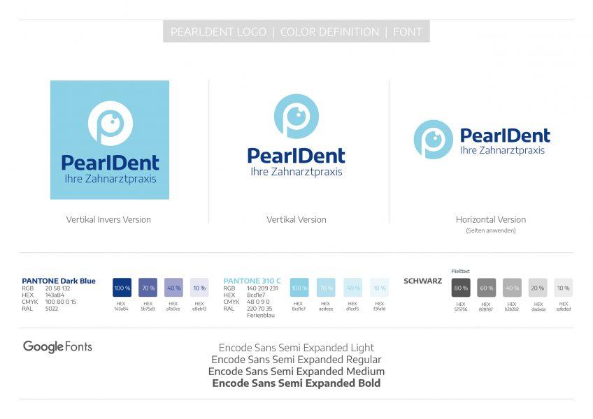 PearlDent - Logo-, Color-, Fontdefinition