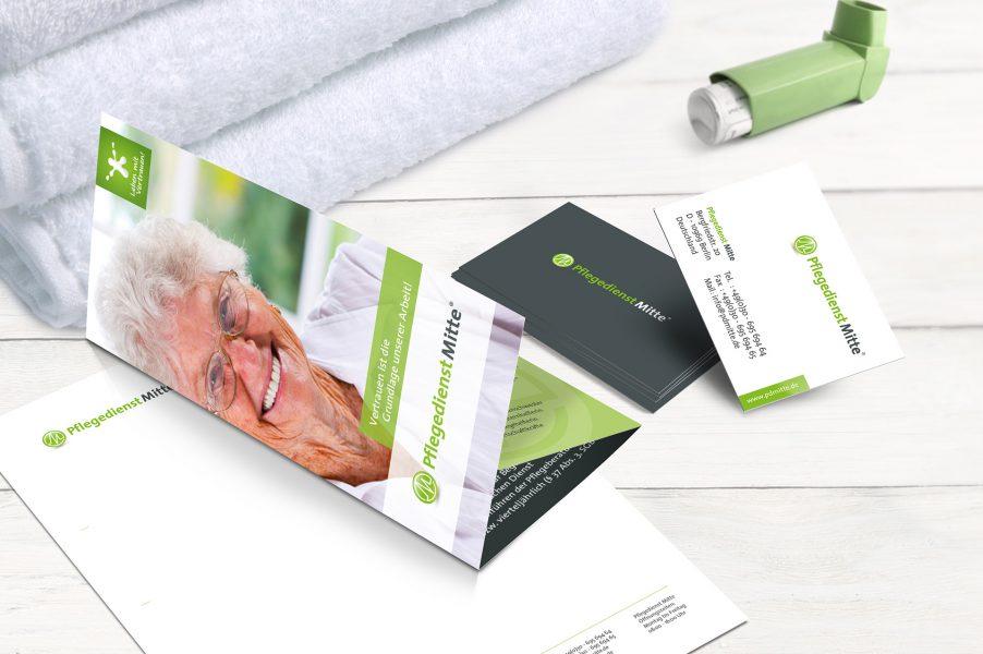 Pflegedienst Mitte - Flyer, Visitenkarten, Briefbögen