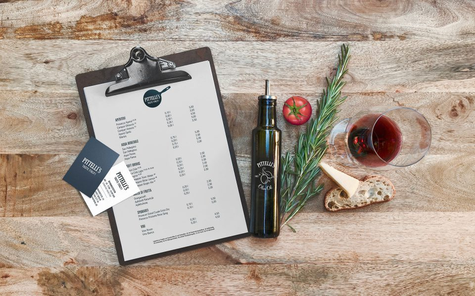 Pittelli`s - Visitenkarte, Speisekarte, Ölflasche