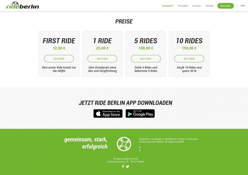 Rideberlin - Website, Preise
