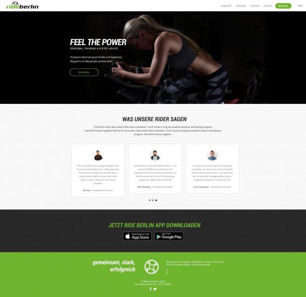 Rideberlin - Homepage Entwurf komplett