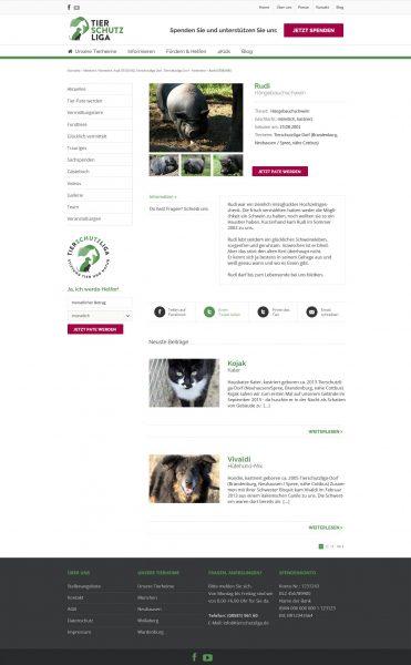 Tierschutzliga - Website, Unterseite