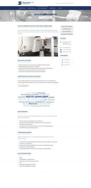 Tema-Fischer - Website, Qualitätsmanagement
