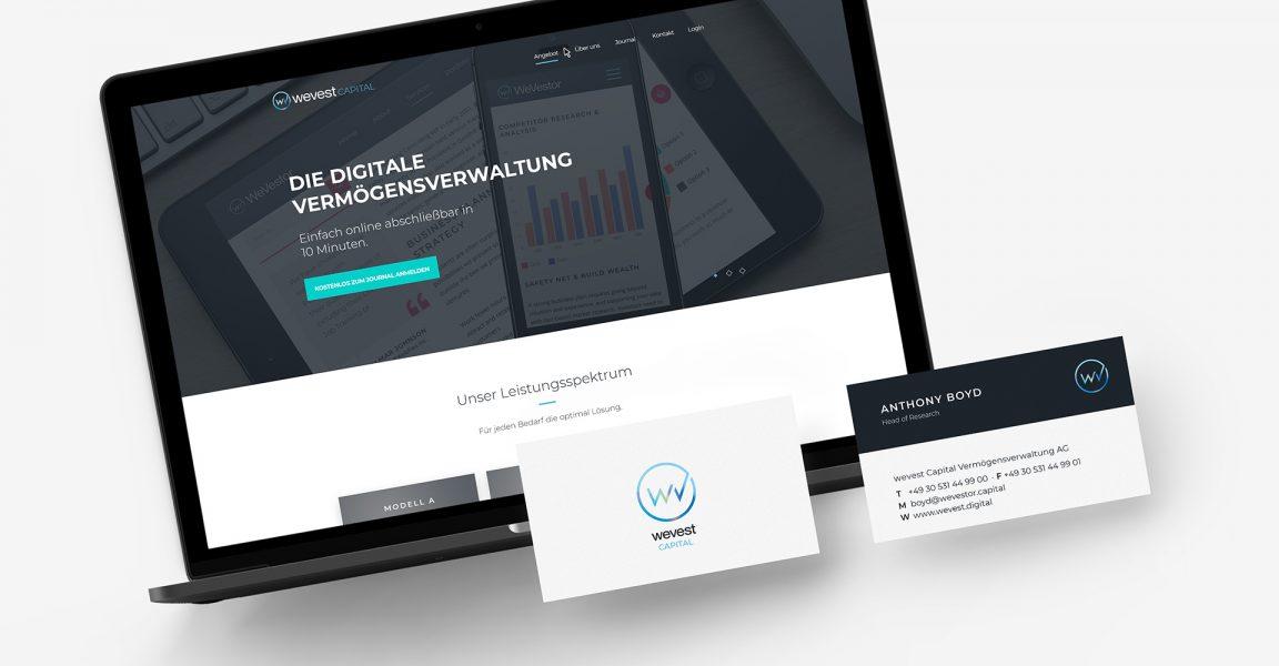 wevest Website und Visitenkarte